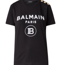 Balmain Balmain T-shirt with velvet logo black gold