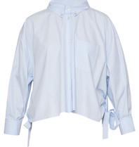 Erika Cavallini Erika Cavallini blouse met borstzak en details blauw
