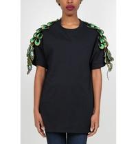 Ragyard Ragyard Peacock sleeve T-shirt zwart
