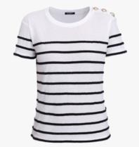 Balmain T-shirt striped black white