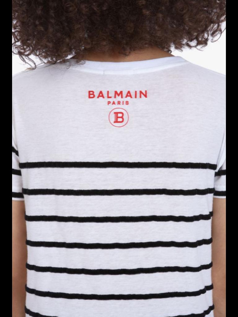 Balmain T-shirt gestreept zwart wit