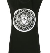 Balmain Ärmelloses Top mit glitzerndem schwarzen Logo
