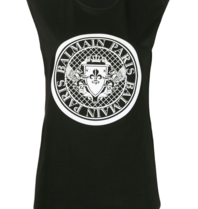 Balmain Balmain Sleeveless top with glitter black logo