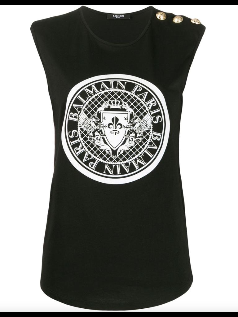 Balmain Mouwloze top met logo met glitter zwart