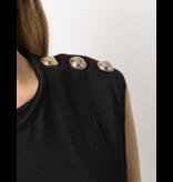 Balmain Balmain Mouwloze top met logo met glitter zwart