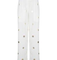 Chptr-S Chptr-S The Barcelona broek wit met gouden stippen