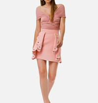 Elisabetta Franchi Elisabetta Franchi skirt with volant pink details