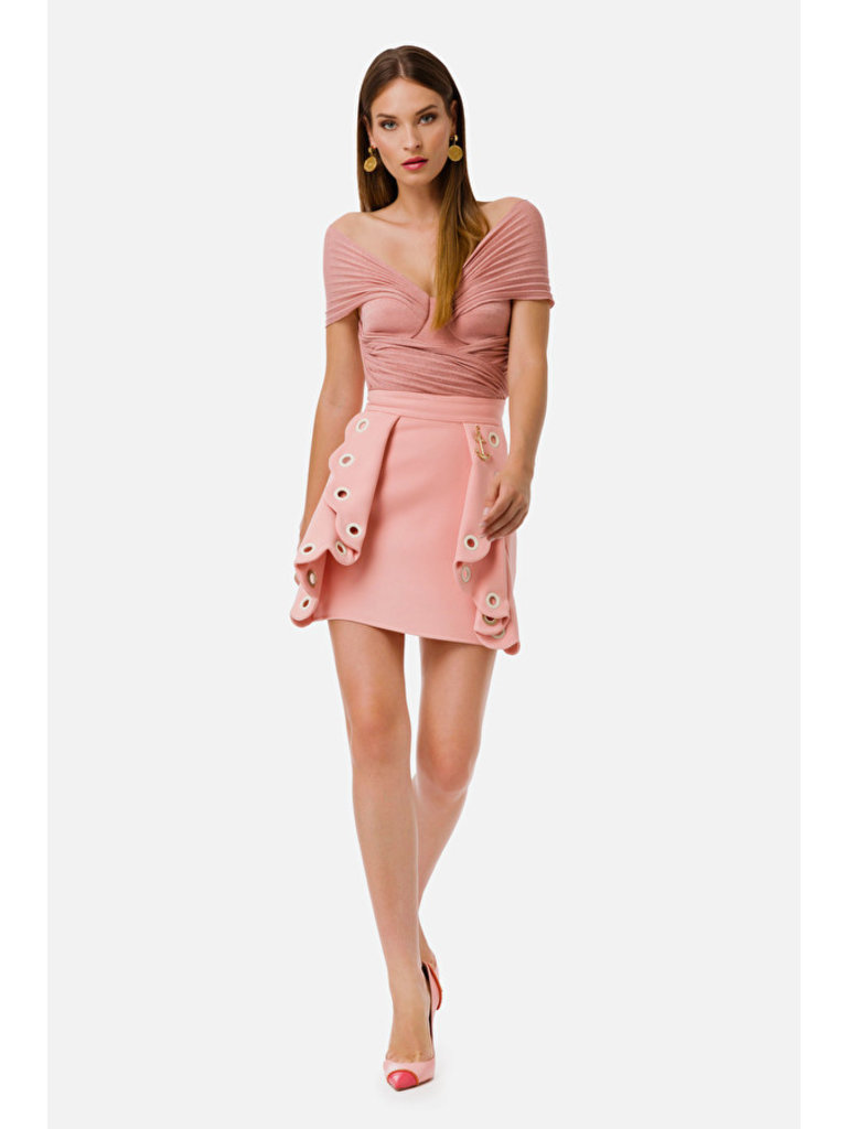 Elisabetta Franchi Elisabetta Franchi rok met volant details roze
