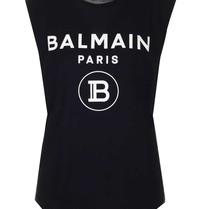 Balmain Balmain Top with velvet logo black gold