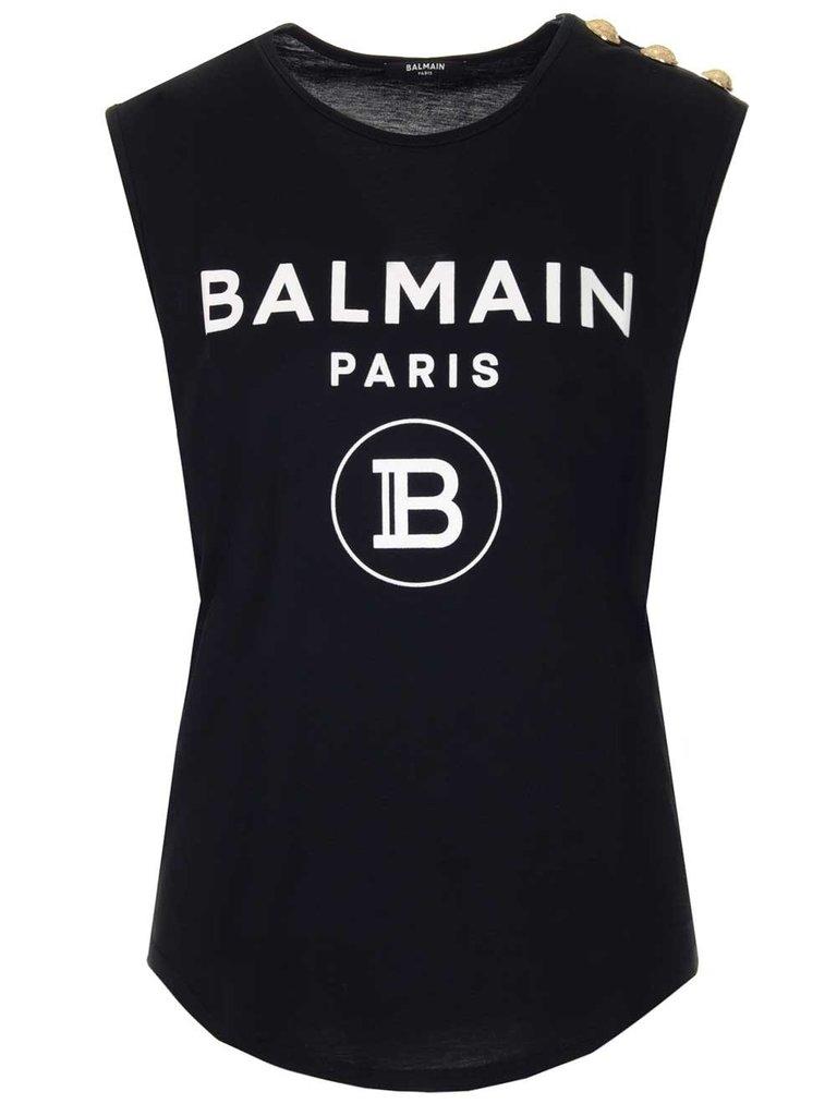 Balmain Balmain Top met velvet logo zwart goud