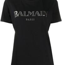 Balmain Balmain T-shirt met logo en zilverkleurige knopen zwart