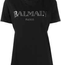 Balmain Balmain T-shirt with logo and silver colored buttons black
