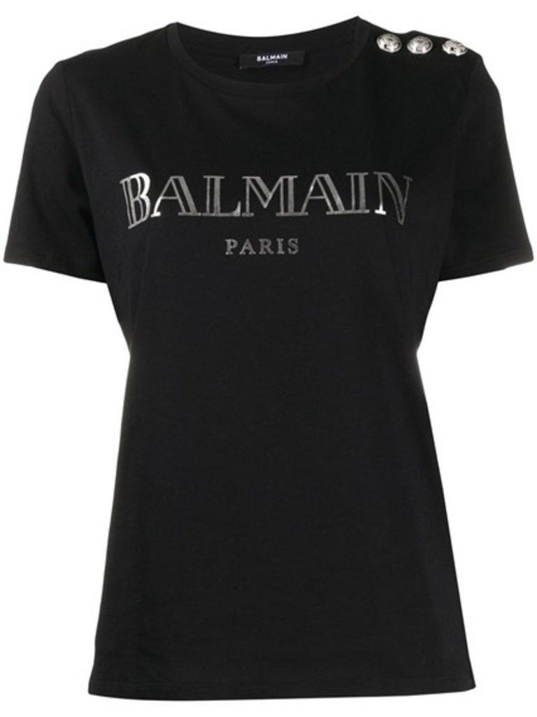 Balmain Balmain T-Shirt mit Logo und silberfarbenen Knöpfen schwarz