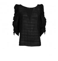 Silvian Heach Silvian Heach Benadir blouse met ruitjesprint zwart
