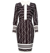 Elisabetta Franchi Elisabetta Franchi zweiteiliges Kleid mit Kettenprint schwarz