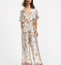 Semicouture Semicouture satin jumpsuit with floral print beige