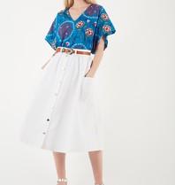 Valentine Gauthier Valentine Gauthier Mira Ibiza top with embroidery blue