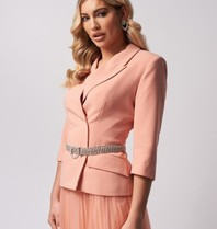 Forever Unique Forever Unique Arlene blazer with diamond belt nude