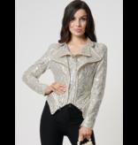 Forever Unique Forever Unique Artemis biker jacket with zipper detail silver