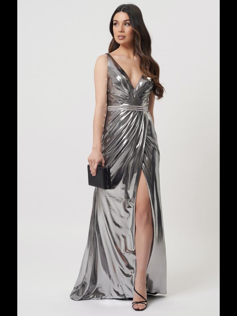 Forever Unique Forever Unique Kyoto wrap maxi dress with diamond details silver