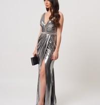 Forever Unique Forever Unique Kyoto wrap maxi jurk met diamant details zilver