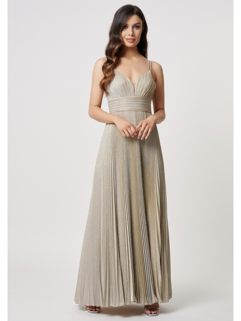 Forever Unique Forever Unique Galax maxi dress with pleated gold