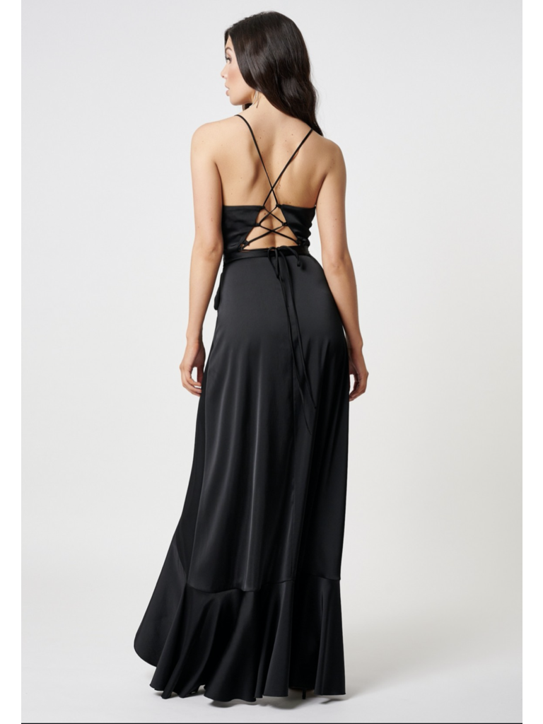 Forever Unique Forever Unique Sadira maxi dress with ruffle black
