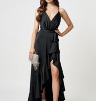 Forever Unique Forever Unique Sadira maxi jurk met ruffle zwart