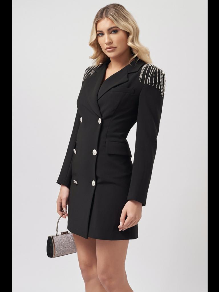 Forever Unique Forever Unique Olivia Zweireiher Blazer Kleid mit Schulterdetails schwarz