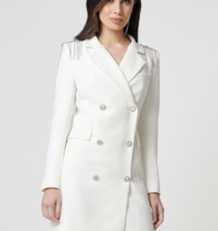 Forever Unique Forever Unique Olivia double breasted blazer dress with shoulder details white