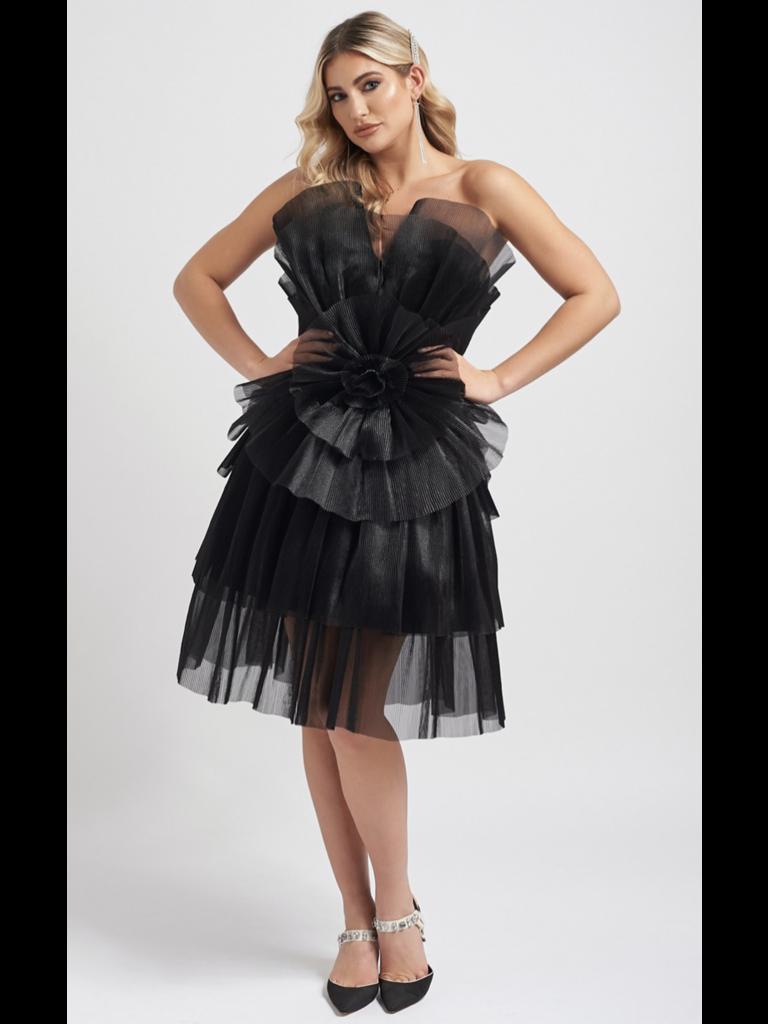 Forever Unique Forever Unique Halle jurk met ruffle details zwart