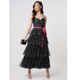 Forever Unique Forever Unique Millie midi jurk met stippenprint zwart