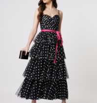 Forever Unique Forever Unique Millie midi dress with black dot print