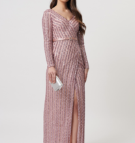 Forever Unique Forever Unique Ashanti sequin maxi dress with split pink