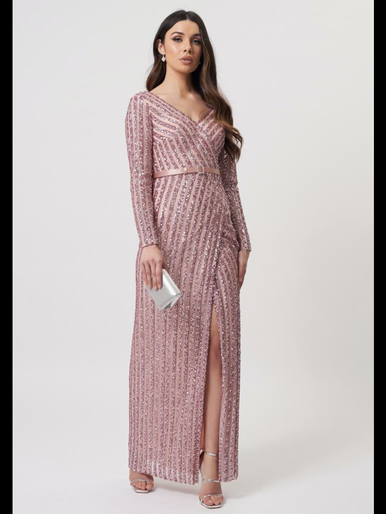 Forever Unique Forever Unique Ashanti sequin maxi jurk met split roze