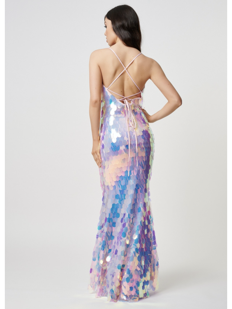 Forever Unique Forever Unique Vibe maxi dress with iridescent silver accents