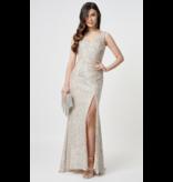 Forever Unique Forever Unique Fontanne maxi dress with sequins silver