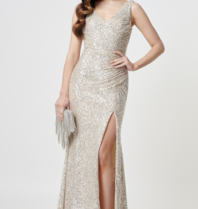 Forever Unique Forever Unique Fontanne maxi dress with sequins silver