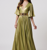 Forever Unique Forever Unique Misse metallic maxi dress with lime belt