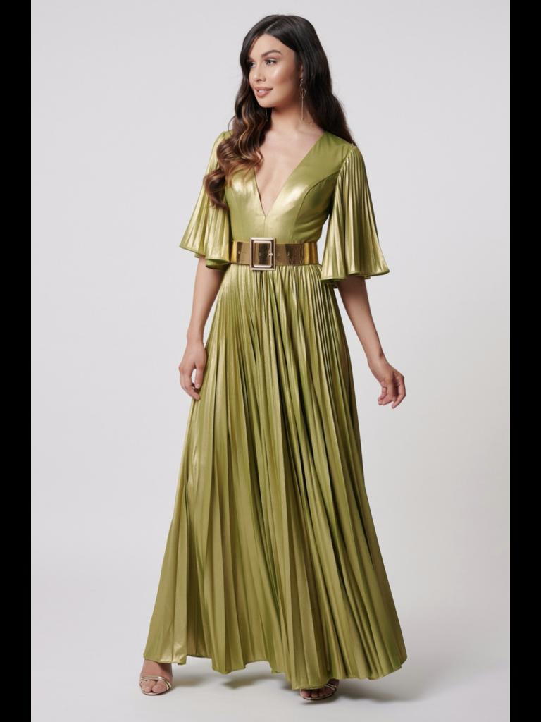 Forever Unique Forever Unique Misse metallic maxi jurk met riem lime