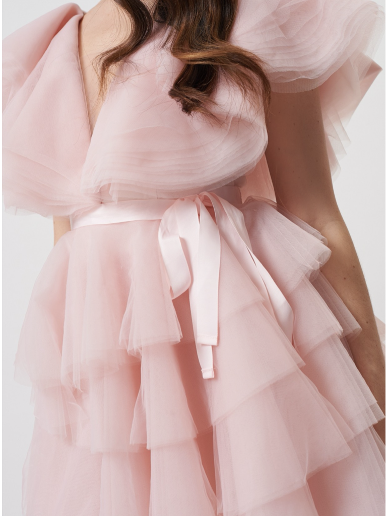 Forever Unique Forever Unique Darcy Tulle dress with ruffle pink details