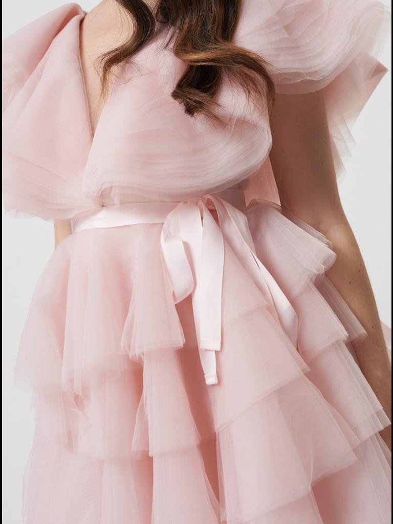 Forever Unique Für immer Einzigartiges Darcy Tüllkleid mit rosa Rüschendetails