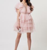 Forever Unique Forever Unique Darcy Tule jurk met ruffle details roze