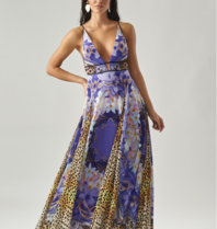 Forever Unique Forever Unique Paradise maxi dress with print purple