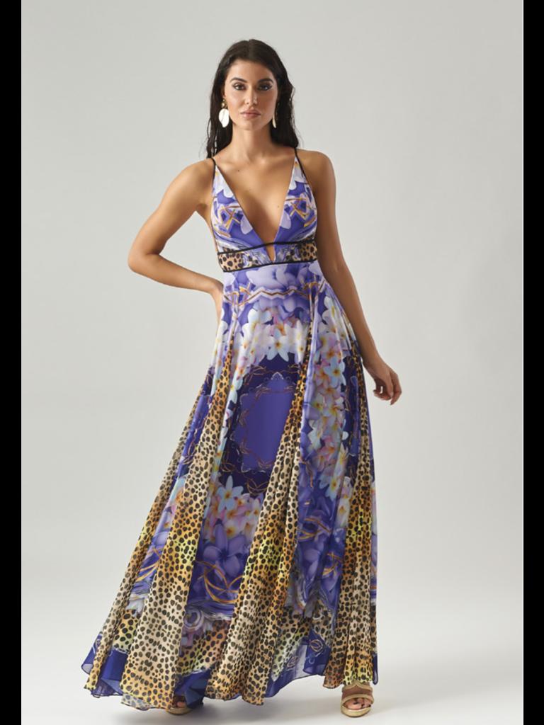 Forever Unique Forever Unique Paradise maxi jurk met print paars