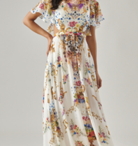 Forever Unique Forever Unique Pandora maxi dress with print white