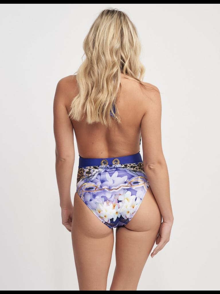 Forever Unique Für immer einzigartiger Hula-Badeanzug mit lila Aufdruck