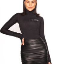 La Sisters LA Sisters leather draped mini rok zwart