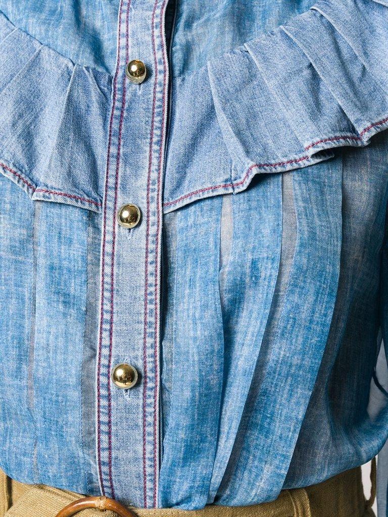 Philosophy Di Lorenzo Serafini Philosophy Di Lorenzo Serafini denim blouse with ruffles blue