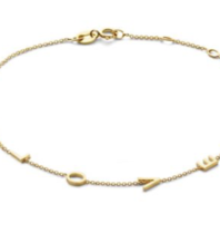Just Franky Nur Franky Liebesbrief Armband 4 Initialen 16-18cm Gold